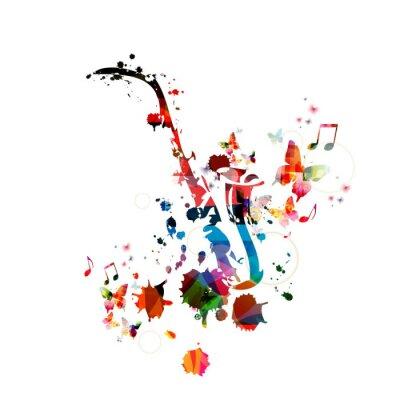 Плакат Красочный музыкальный фон с саксофоном