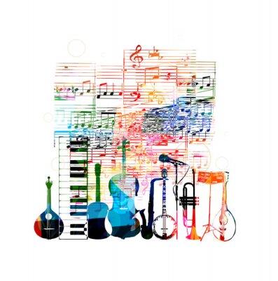 Плакат Красочные музыкальные инструменты дизайн