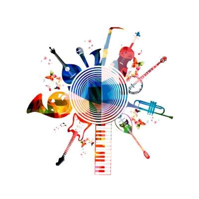Плакат Красочный фон музыкальные инструменты