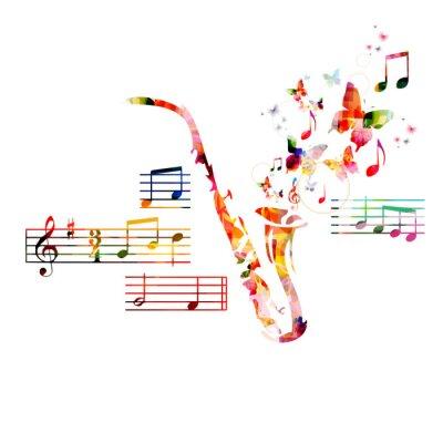 Плакат Красочный дизайн саксофон с бабочками