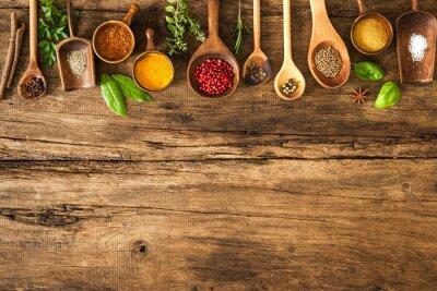 Плакат Красочные специи на деревянном столе