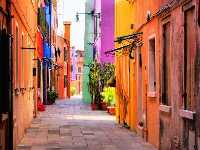 Плакат Красочные улица в Бурано, близ Венеции, Италия
