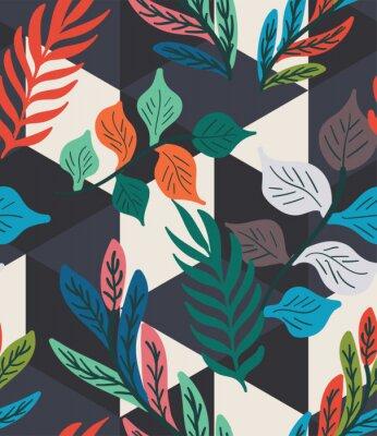 Плакат Colorful tropical leaf, fern, and geometric hexagon diamond triangle seamless pattern. Trendy repeat geo vector swatch.