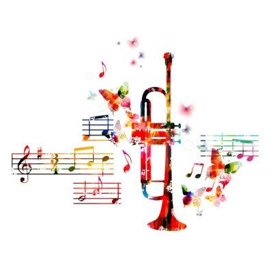 Плакат Красочный дизайн труба с бабочками