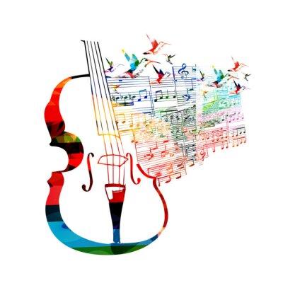 Плакат Красочный дизайн виолончель с колибри