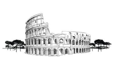Плакат Колизей в Риме, Италия. Ориентир Колизей, городской пейзаж.