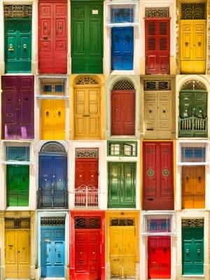 Плакат красочные передние двери домов