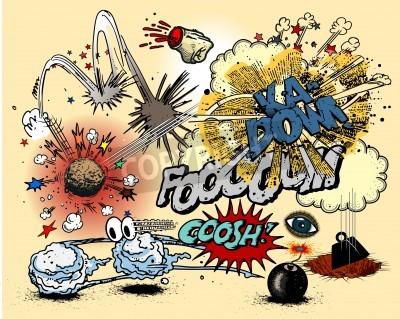 Плакат Книга комиксов взрывы