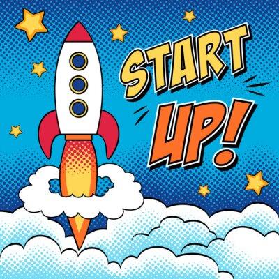 Плакат Комикс иллюстрация запуска концепции с ракетой в поп-арт