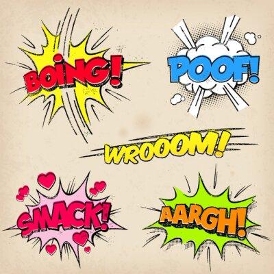 Плакат Comic Звуковые эффекты с Grunged Style