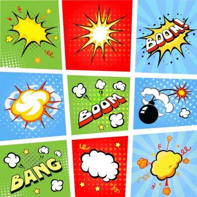Плакат Смешные пузыри речи и комиксов иллюстрации фона