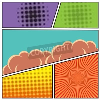 Плакат Комиксы стиле поп-арт шаблон пустой макет с облаками и лучами точек шаблон фон векторные иллюстрации