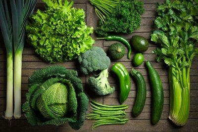 Плакат Состав де légumes uniquement Verts Сюр ипе стол ан-Буа