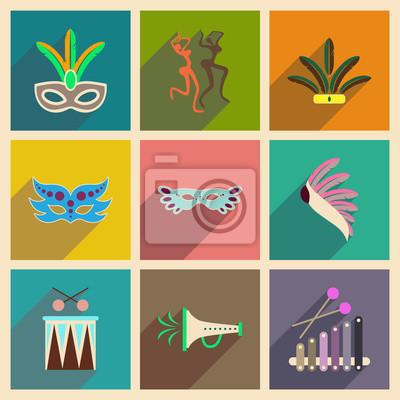 Плакат Концепция плоских значков с длинной тенью бразильский карнавал
