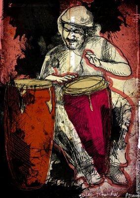Плакат конга - рисованной иллюстрации