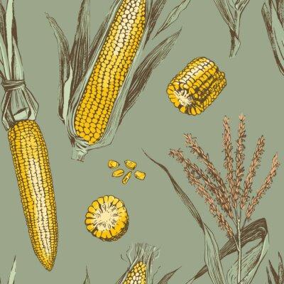 Плакат Corn on the cob vintage design seamless pattern