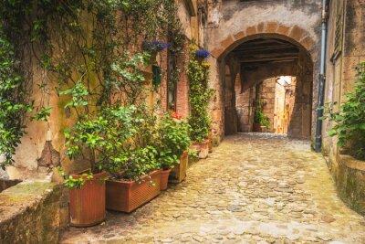 Плакат Углы тосканских средневековых городов в Италии