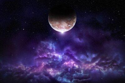 Плакат Космос сцена с планеты, туманности и звезды в пространстве