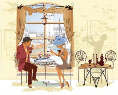 Плакат Пара, мужчина и женщина, в кафе.