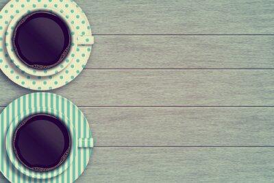Плакат пара кружки кофе на деревянный стол