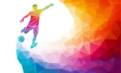 Плакат Творческий силуэт футболиста. Футболист бьет по мячу в модном абстрактный красочный полигон радуги обратно
