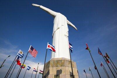 Плакат Кристо-дель-Рей статуя Кали с мировыми флагами и голубое небо, Коль