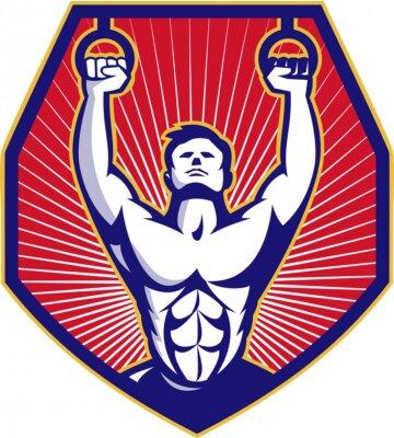 Плакат Crossfit Training Athlete Rings Retro