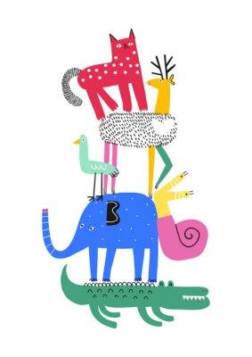 Плакат Cute animals. T-shirt graphics for kids vector illustration. Fun cartoon animals pyramid greeting card.