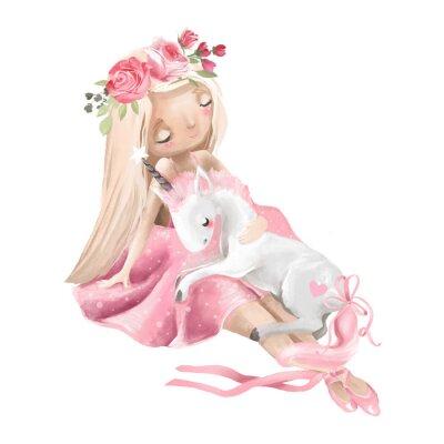 Плакат Милая балерина, балетница с цветами, венок и маленький единорог