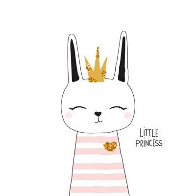Плакат Cute bunny princess with gold crown. Kids trendy graphic. Vector hand drawn illustration.