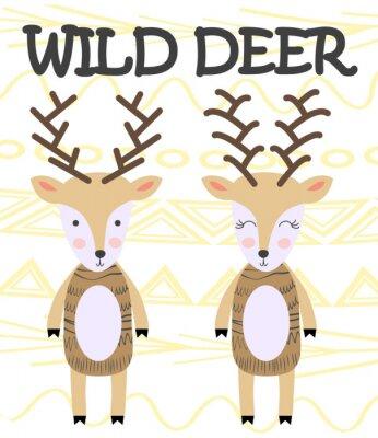 Плакат Cute cartoon deer. Composition with folk art animals and floral decor elements. Hand drawn clip art. Scandinavian style