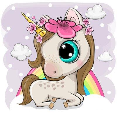 Плакат Cute Cartoon Unicorn on clouds