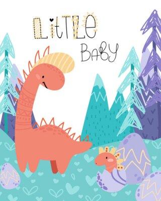 Плакат Cute childish hand drawing. Prehistoric period. Vector scandinavian illustration. Sketch of jurassic reptiles. Cartoon dinosaurs, eggs, mountains. Template baby banner, greeting card, invitation