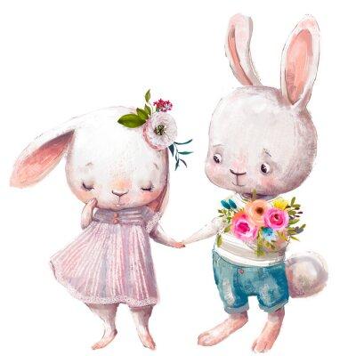 Плакат cute couple of hares