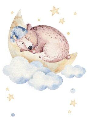 Плакат Cute dreaming cartoon animal hand drawn watercolor illustration. Sleeping charecher kids nursery wear fashion design, baby shower invitation card.