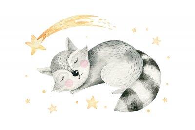 Плакат Cute dreaming cartoon cartoon animal hand drawn watercolor illustration. Sleeping charecher kids nursery wear fashion design, baby shower invitation card.
