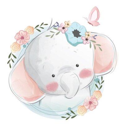Плакат Cute Elephant Portrait
