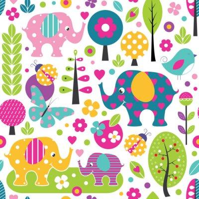 Плакат милые слоны, божьи коровки, бабочки и птицы в лесу пестрым узором