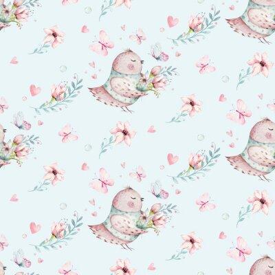 Плакат Cute Fairy character watercolor illustration on white background. Magic fantasy cartoon pink fairytale design. Baby girl birthday