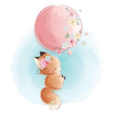 Плакат Cute Fox Flying with Flowery Balloon