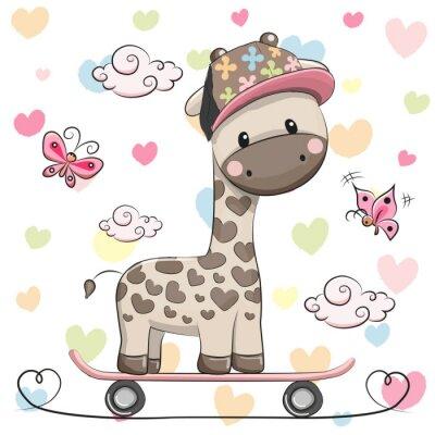 Плакат Симпатичные Жираф с скейтборд