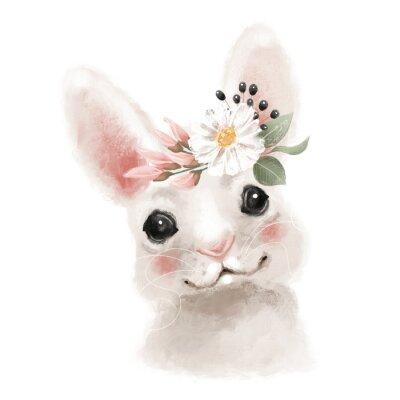 Плакат Cute hand drawn bear in floral wreath, flowers bouquet, woodland watercolor animal portrait