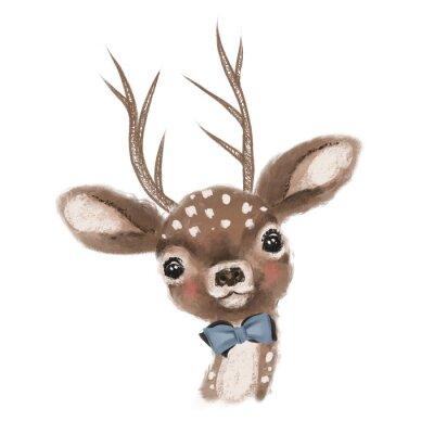 Плакат Cute hand drawn deer, fawn with bow, woodland watercolor animal portrait