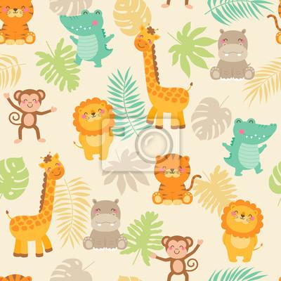 Плакат Cute jungle animals with leaf seamless pattern background