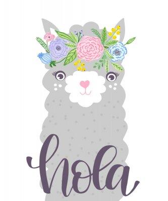 Плакат Cute Lama face. Childish print for fabric, t-shirt, poster, card, baby shower.  Illustrtion