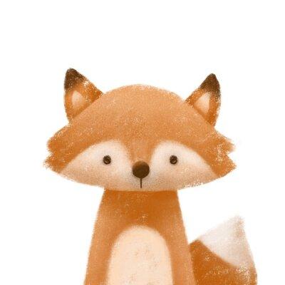 Плакат Cute little fox. Kids print or poster. Hand drawn illustration.