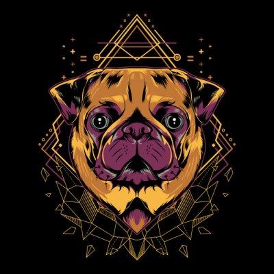 Плакат Cute Pug Dog Vector Crystal Geometry Illustration in Black Background