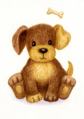 Плакат Милый щенок, акварель.