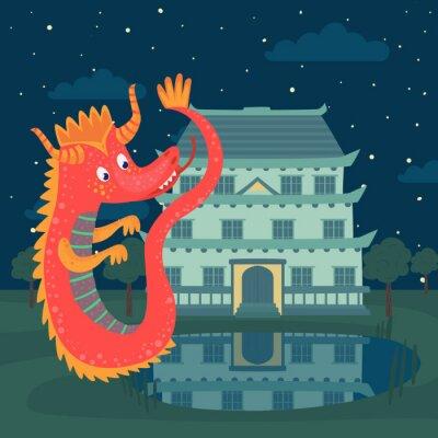 Плакат Симпатичный красный дракон рядом с замком ночью, сказочная история для детей