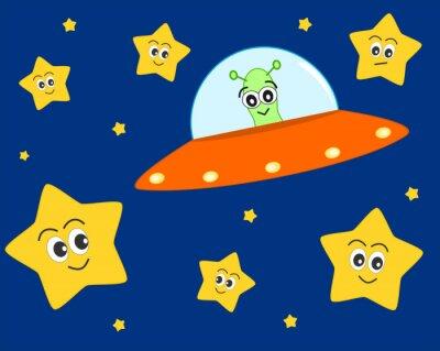 Плакат мило НЛО иностранец мультфильм в пространстве со сладким прекрасные звезды векторные иллюстрации для детей